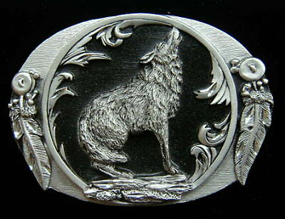 Howling Wolf Diamond Cut Belt Buckle Buckles Nice!!