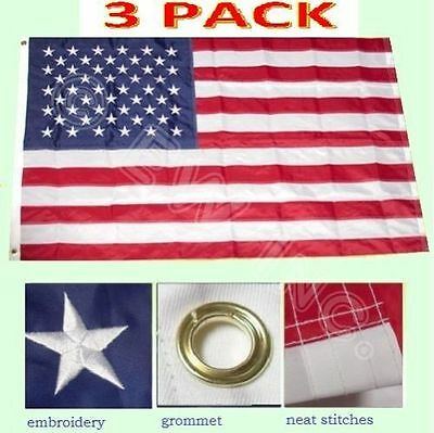 3 Pack - 3x5 Ft US American Nylon Deluxe Embroidered Stars Sewn Stripes USA Flag