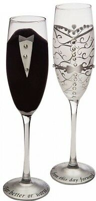 Set Of 2 Handpainted Bride and Groom Champagne Toasting Flute Glasses 9