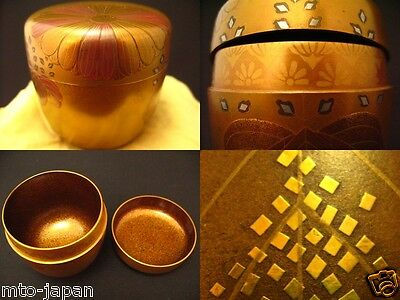 Japan Traditional Lacquer Wooden RIKYU KOUDAIJI makie NASHIJI O-natsume (411-13)
