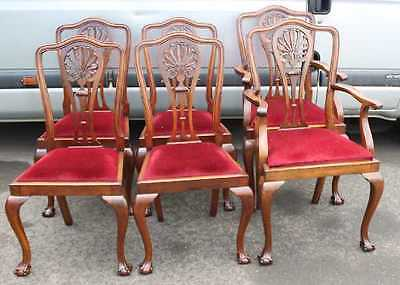 Set 6 Mahogany 1920's Claw and Ball Dining Chairs. Pop out seats. 4+2 Red Seats