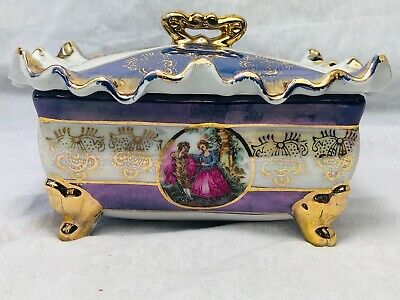 Vintage Ladies French Sevres Style Porcelain Trinket Jewellery Romance Box