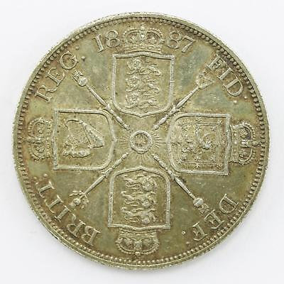 1887 Extremely Fine Queen Victoria Jubilee Head Double Florin Coin Lot B