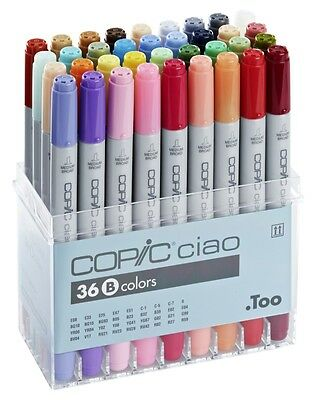Copic Ciao Marker - 36B Pen Set - Twin Tipped - 36 Unique Colours *brand New*