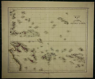 1850 Large Antique Hand Coloured Map ~ Pacific Ocean Islands Society Solomons