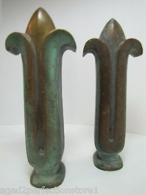 Antique Pair Bronze Finials wonderful old heavy architectural flor fluer de lis