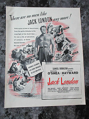 "Vintage 1943 Michael O'Shea Jack London Movie Print Ad, 13.125"" X 10.25"""