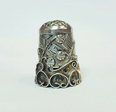 Vintage Sterling Silver Leaf And Flower Pattern Sewing Thimble