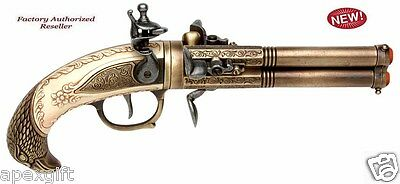 Authentic Colonial 17th Three-Barrel Flintlock Pistol Brass Non-Firing Gun