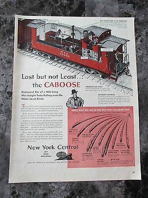"Vintage 1943 New York Central Train System Print Ad, 13.5"" X 10.125"""
