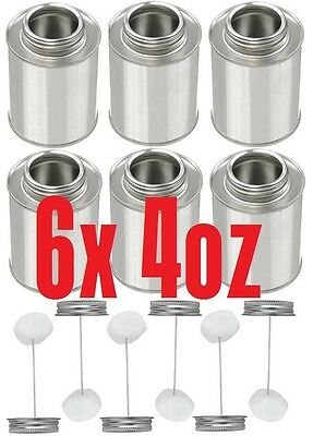 6X 4oz Metal Tin Can Bottle With Dauber Applicators For Glue Cement Paint...NEW
