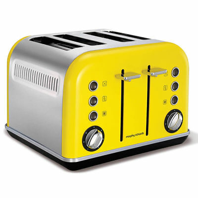Morphy Richards 242025 Yellow Accents Toaster 4 Slice Chrome Stainless Steel