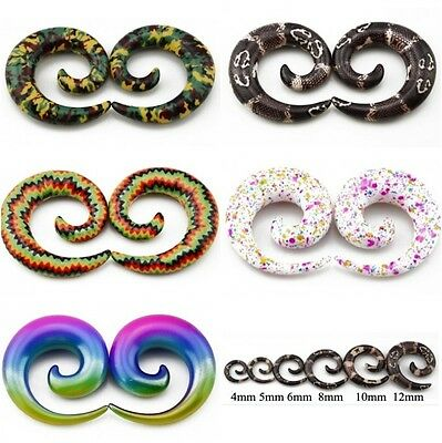 Spiral Acrylic Ear Taper Stretchers Expander Snail Earrings flesh Tunnel Design
