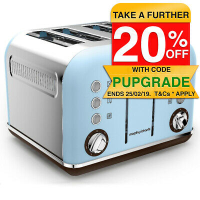 Morphy Richards 242100 Azure Blue Toaster Matte Chrome Accents 4 Slice 1880W