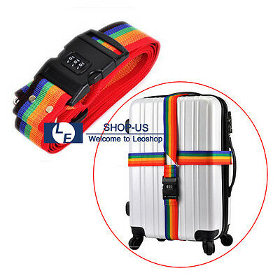 New Travel Suitcase Luggage Secure Password Code Lock Rainbow Belt Strap Band