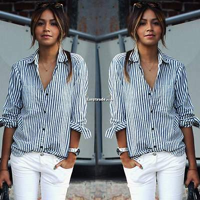 Sexy Womens V Neck Striped Button Down Casual Loose Shirt Top Blouse Long Sleeve