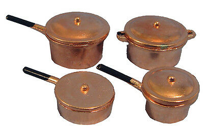 Pack of 4 Copper Saucepans 12th Scale For Dolls Houses D330