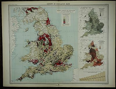 1903 Antique Map ~ England & Wales Density Of Population Industrial Commercial