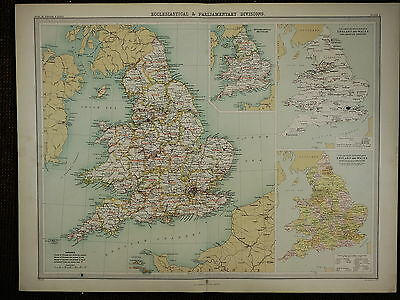 1903 Antique Map ~ England & Wales Ecclesiastical Parliamentary Divisions