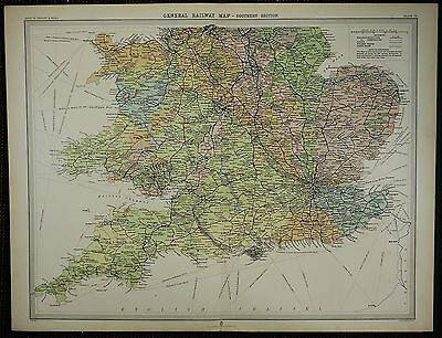 1903 Antique Map ~ Southern England General Railway Station Steamer Tracks