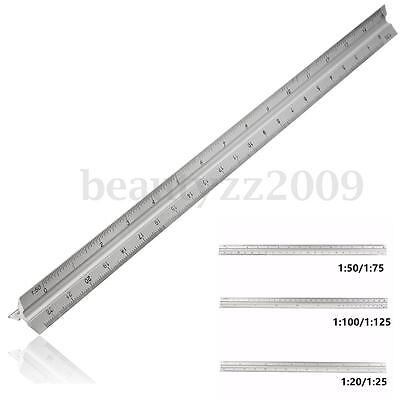 300mm 1:20~1:100 Triangular Metric Scale Ruler For Engineer 12'' Multicolor