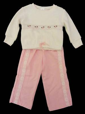 childrens vintage top and trousers new old stock pink white flowers 70's age 1