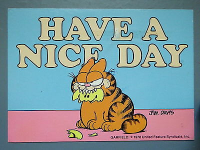 R&L Modern Postcard: Garfield Posted 1980's, Jim Davies, Have a Nice Day, Argus