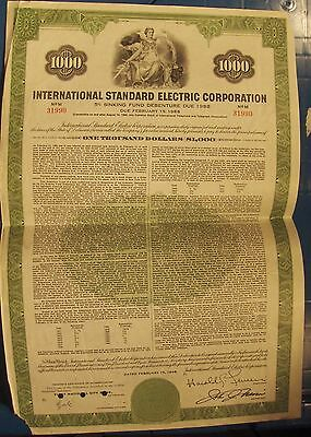 BOND International Standard Electric Corporation dated 1968 for $1,000