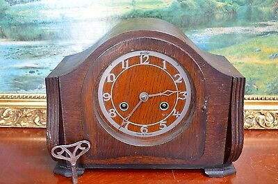 Vintage Bentima Mantle Clock Oak Cased Seems to Work But Untested