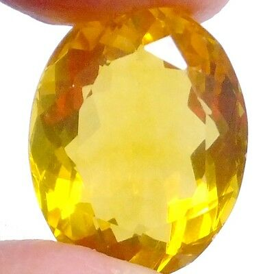 NATURAL OUTSTANDING RARE VIVID YELLOW FLUORITE (21 x 16 mm) LARGE OVAL (32 CT)
