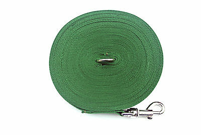 65ft Long Dog Training Lead,Obedience,Recall,Leash,Large 25mm Green Webbing