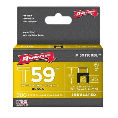 Arrow Fasteners 591168BL T59 1/4-In by 1/4-In Black Insulated Staples, 300-Pack