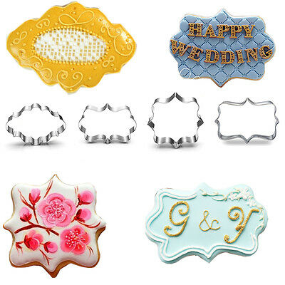 4pcs European Blessing Wishes Wedding Frame Metal Cookie Cutters Biscuits Mold