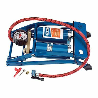Draper Double Cylinder Foot Pump For Tyres With Lock On Connector - 25996