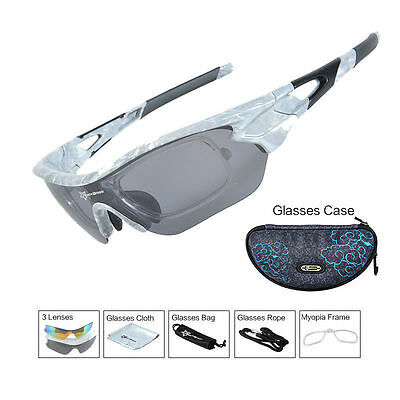 RockBros Cycling Sports Glasses Polarized Lenses Sunglasses Goggles UV400 Grey
