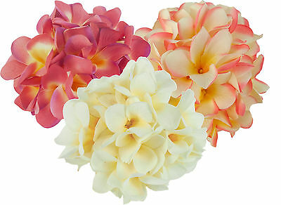 72 Frangipani Silk Flower Heads on Wire Stem - Craft Flowers - Mixed Packs Avail