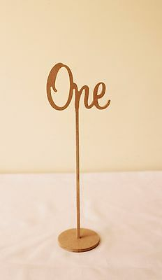 Set of 10 Freestanding wedding wooden table numbers with round base/sticks