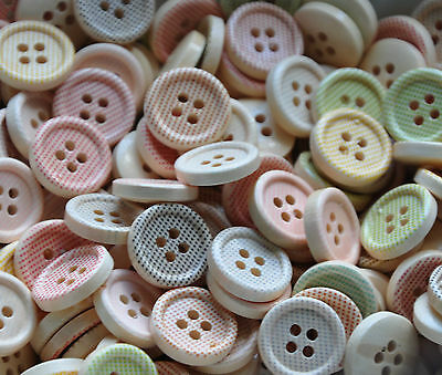 Wooden Pastel Shade Buttons Mixed 15mm for sewing card making and crafts