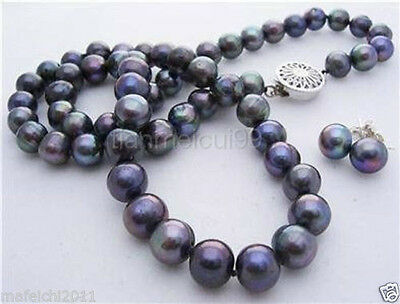 7-8mm Black Akoya Cultured Pearl Necklace Earring 17""