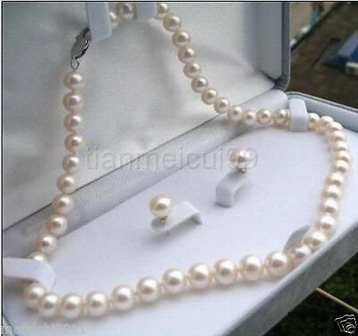 Fashion 7-8mm Natural White Akoya Cultured Pearl Earrings Necklace Set 18""