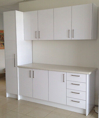 Laundry Cabinet Hi Gloss UV White with pantry and overhead