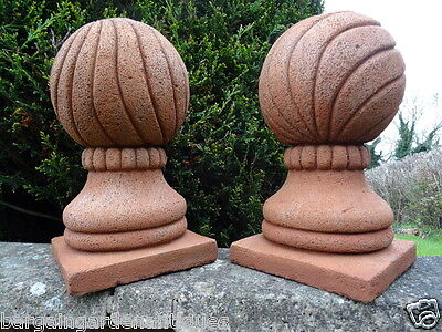 Pair Vintage French Sandstone Ball Finials Pier Cap Coping Gate Post Tops