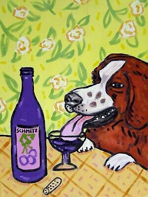 Brittany wine art folk art dog PRINT 8x10 JSCHMETZ american modern abstract