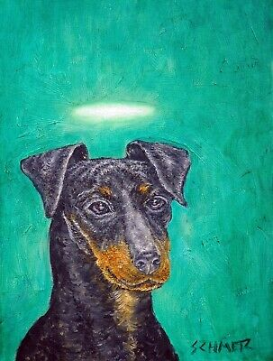 Manchester terrier angel dog 13x19 signed art PRINT animals impressionism artist