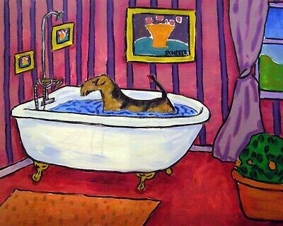AIREDALE TERRIER animal BATH  dog art print 11x14