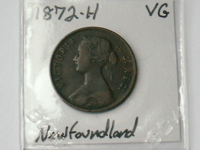 1872-H Newfoundland One Cent Foreign World Coin ( Vg , My Opinion )