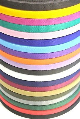 10 Metres Of 20mm Webbing Various Colours Bags Straps Crafts Dog Leads Collars