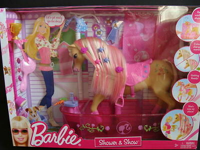 NEW BARBIE Shower & Show Horse TAWNY Playset Tub Color Change Mane Pink World