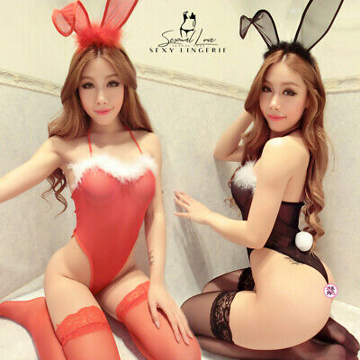 Costume Completo Rabbit Bunnies Bunny Rosso Nero Cosplay Sexy con Calze Lingerie