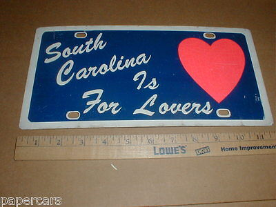 South Carolina is For Lovers heavy Vintage Metal car License Plate Tag VG unused